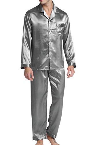 Herren Schlafanzug Pyjama Set Satin Nachtwäsche mit Langen Ärmel Loungewear (Grau, M)