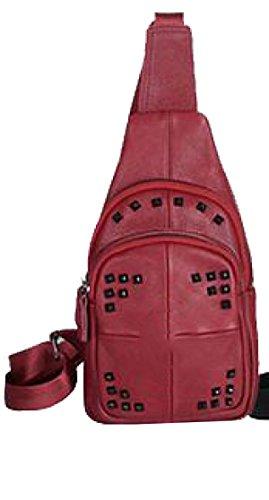 Yy.f Uomini E Donne Nuovi Imballano Petto Primo Strato Di Retro Pacchetto Di Cuoio Casuale Tasche Sacchetto Di Spalla Diagonali E Piccoli 3 Colori Red