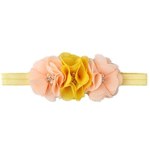 kingko® Baby drei Chiffon Blumenkopf mit Baby Perle Blume Haarband (Gelb)