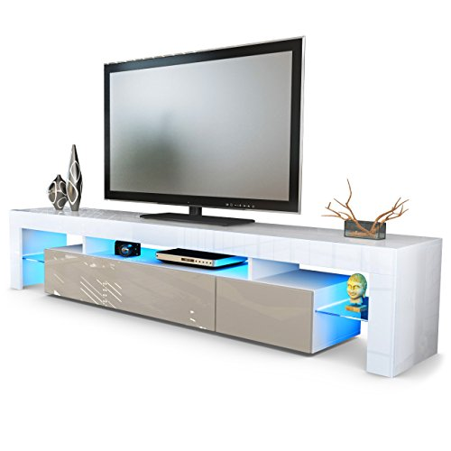 Tv Stand Unit Lima V2, Carcass In White / Front In Sand Grey High Gloss