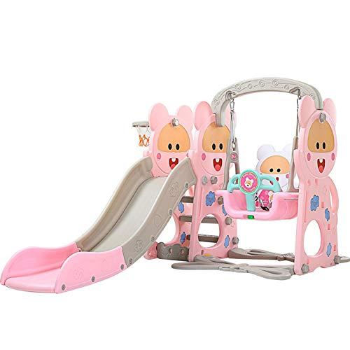Thole Infantil Toboganes y Columpios Juguetes Niños Diapositiva para Interior/Exterior/Parque/Jardín Adecuado para bebé de 2-8 años,Pink