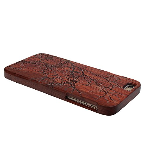 Coque iPhone 7 Anti Choc Case en Bois Naturel Forepin® Réel Etui Couvert et Housse en Wood Dur dans Motif de Sculpté élégante Protecteur pour iPhone 7 (Lion) Pie