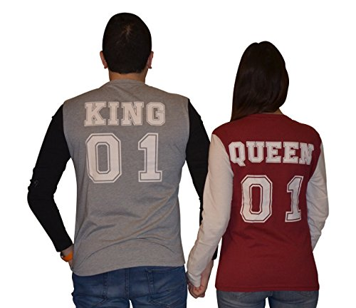 *KING & QUEEN: Langarmshirts (M-KING, Grau/Schwarz)*