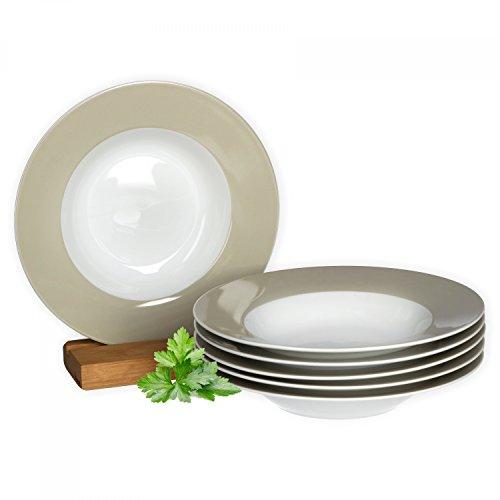 Van Well 6er Set Suppenteller Serie Vario Porzellan - Farbe wählbar, Farbe:beige