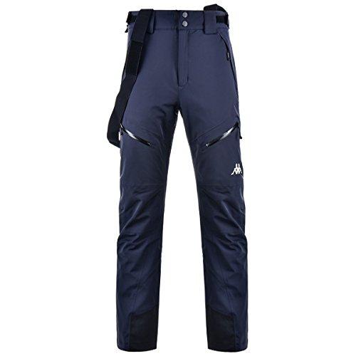 Kappa 6Cento Pantalone Ski uomo con bretelle. REGULAR FIT. Nero, Blue Night, XX-Large