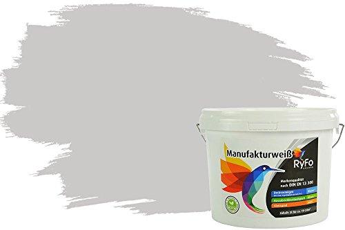 RyFo Colors Bunte Wandfarbe Manufakturweiß Hellgrau 3l - weitere Grau Farbtöne und Größen erhältlich, Deckkraft Klasse 1, Nassabrieb Klasse 1