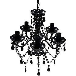 vidaXL - Lámpara de Techo con 5 Luces (plástico), Color Negro