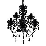 vidaXL Lámpara Colgante de Araña con Cristales Negros 5 Luces Luz de Techo