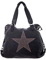 Damen Handtasche Tasche mit Stern aus Canvas mit Leder ist Langlebiger, reißfester, robust Kombination extra lange Henkel für die Schulter Schultertasche Umhängetasche Henkeltasche