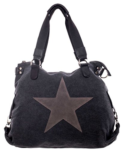 Damen Schultertasche Tasche mit Stern aus Canvas mit Leder Kombination extra lange Henkel für die Schulter Umhängetasche Henkeltasche