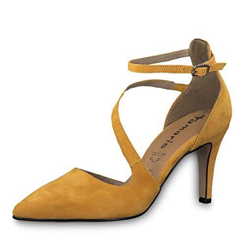 Tamaris Donna Scarpe col Tacco 24499-33, Signora Scarpe col Tacco Cinturino, Cinghie,con Cinturino alla Caviglia,Supporto Tallone,Mustard,37 EU / 4 UK