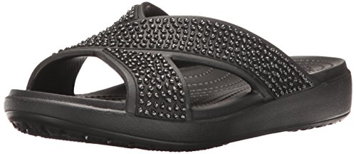 crocs Damen Sloane Embellished Xstrap Sandalen Flipflops, Black (Schwarz), 41/42 EU (Spa-flip-flops Für Frauen)