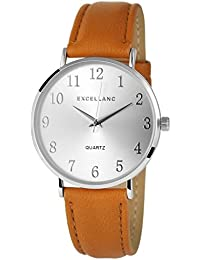 Trend de Wares de mujer reloj de pulsera plata marrón analógico de cuarzo metal piel mujer reloj números arábigos