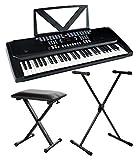 Funkey 54 Keyboard Set (54 Tasten, 100 Sounds, 100 Rhythmen, Mikrofon Eingang, inkl. schwarzem Keyboardständer und Keyboardbank) schwarz