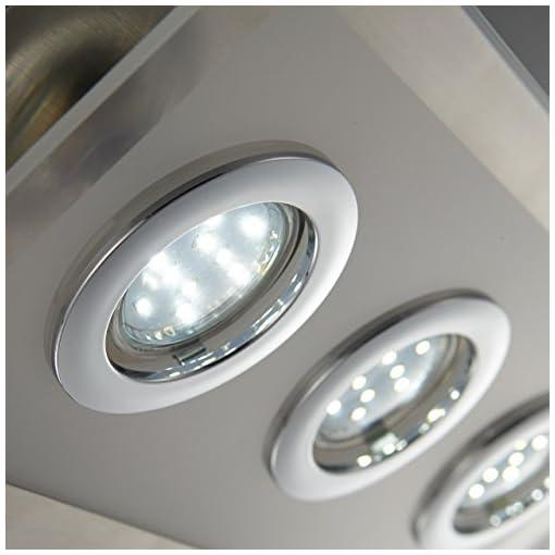 Lampada LED da soffitto con 6 faretti, plafoniera moderna rettangolare in metallo color nickel opaco e vetro ideale per il soggiorno, include 6 lampadine GU10 da 3W, 230V, IP20