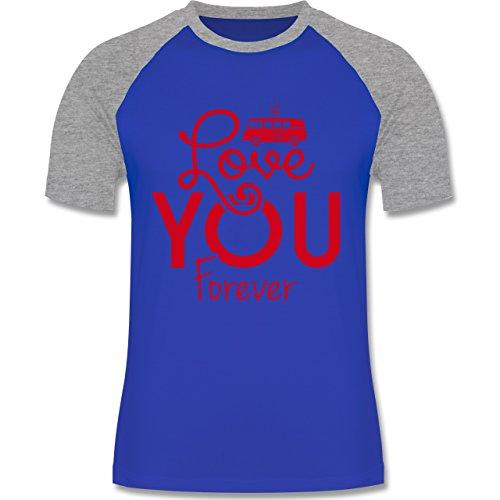 Statement Shirts - Love You Forever Bus T1 - zweifarbiges Baseballshirt für Männer Royalblau/Grau meliert