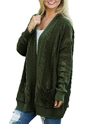 Doballa Damen Vorne öffnen Chunky Zopfstrick Twisted Cardigan Pullover Mantel mit Tasche (XL, Olive)