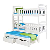 Children Triple Bunk Bed DOMINIC 3 Pine Wood Trundle Bed High Sleeper Various Colours 2 Sizes