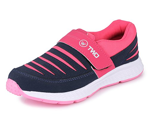 TRASE Touchwood Women's Shark Navy/Pink Sports Shoes for Running/Jogging (with Hook & Loop Fastner) - 4 IND/UK