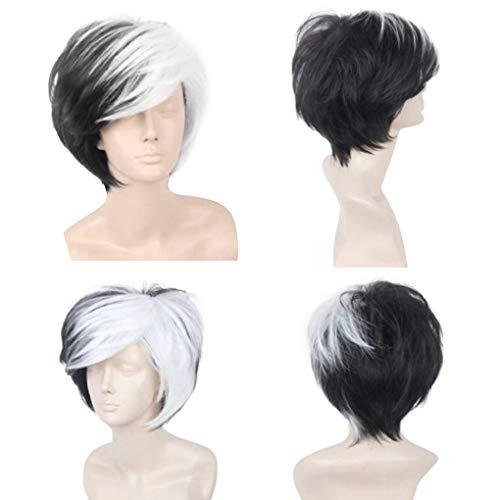 perücke herren Waselia, Billige PerüCken MäNner, kurz (6 inches/15cm),Anime cos Männer kurze Haare schwarz und weiß gemischte Farbe gefälschte Haare flauschige realistische kurze gerade ()