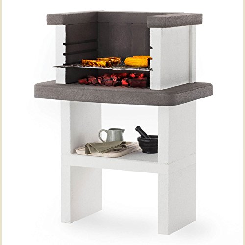 Fire Mountain Belair Masonry Barbecue with Stainless Steel 3 Level Grill, Open Top and Storage Space for Wood or Charcoal