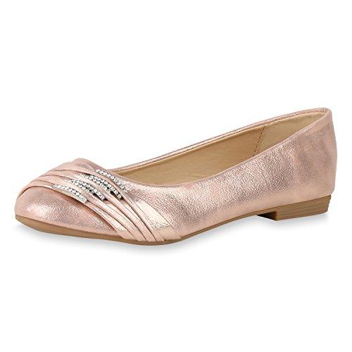 SCARPE VITA Klassische Damen Ballerinas Metallic Strass Flats Elegante Slipper 160382 Rose Gold Strass 38 Metallic-ballet Slippers