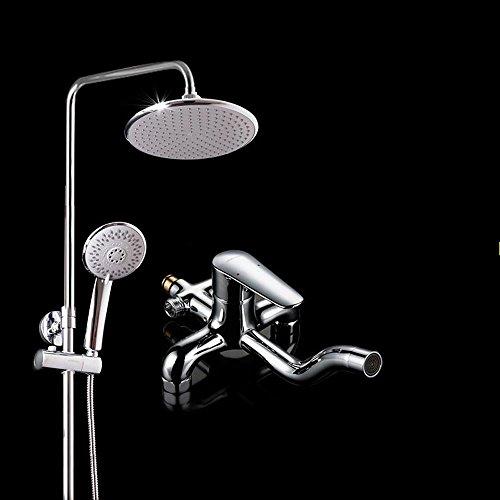 SDKKY-Moderner home Dusche Kopf Dusche Set, Kupfer Dusche-Bad-Set, Runde Handbrause, unter dem Wasserhahn ausschwenken
