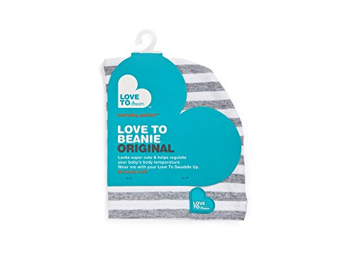 Love to Dream Beanie, Gray and White Stripes by Love to Dream (Stripe Beanie White)