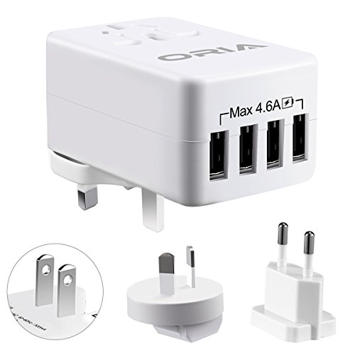 4-Port Ladestecker 23W Adapter Universal Reise Netzteile, USB Charger mit UK/USA/EU Multi Stecker und Smart-Detective für iPhone iPad, Tablet, Power Bank ()