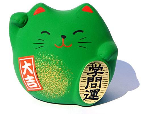 Gifts of the Orient Maneki Neko Feng Shui - Figura decorativa, diseño de gato de la suerte en los estudios, color verde