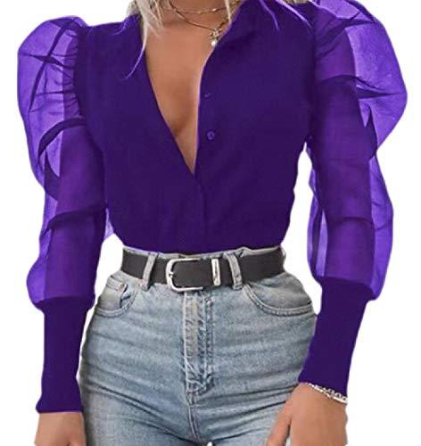 securiuu Womens Button Down Shirt Puff Sleeve Basic Deep V Neck Tops Blouse Purple XS -