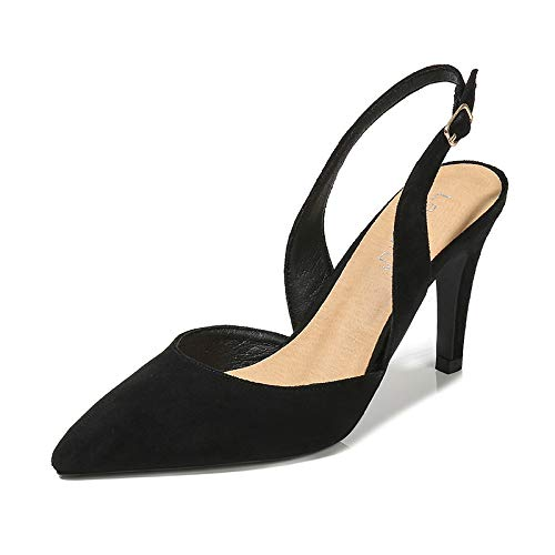 Suede Stiletto Heel (SHUAI Women's shoes After The Empty Baotou Pointed Stiletto Suede Ladies high Heels, Black, 39)
