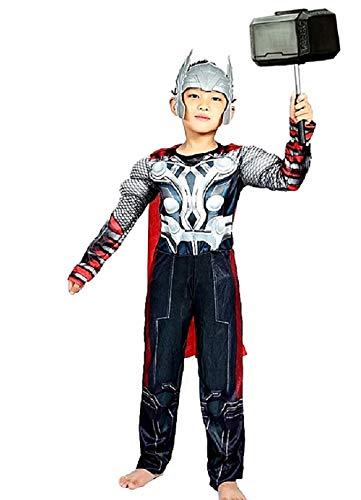 - 6-7 Jahre - Superheld Kostüm und Maske - Muskulöser Busen - Thor für Kinder verkleiden Karneval Halloween Cosplay Zubehör ()