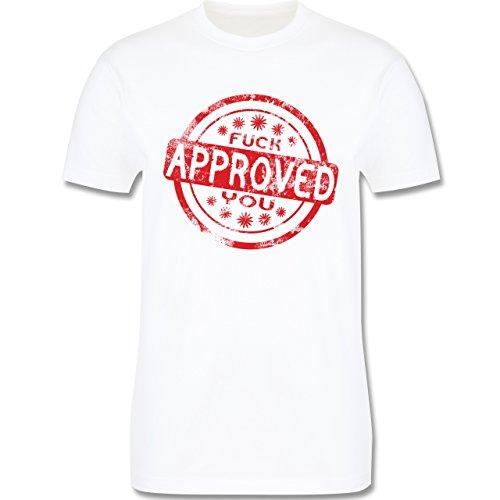 lustige Sprüche - Fuck you approved - L190 Herren Premium Rundhals T-Shirt Weiß