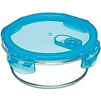 KitchenCraft Pure Seal Airtight Contenitore per alimenti per forno in vetro, piatto, 350 ml (12,5 fl oz), Vetro, trasparente, 600 ml (1 Pint)