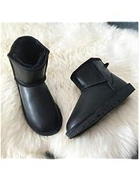 JUWOJIA Las Mujeres De Moda Invierno Botas De Nieve Botas Impermeables,Impermeable Negro,39