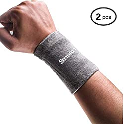 Senston Mens Sports Wristband Sweatband Fitness Wristbands Wrist SweatbandsTennis Wristbands for Soccer Basketball Badminton, Gray
