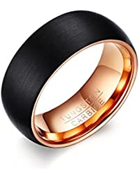 Asma Black Tungsten Ring 8MM Matte Finish Inner Rose Gold Color for Men