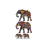 Cosanter Wall Art Sticker Colourful Pattern Elephants DIY Removable Background Vinyl Decal Mural Room Decoration