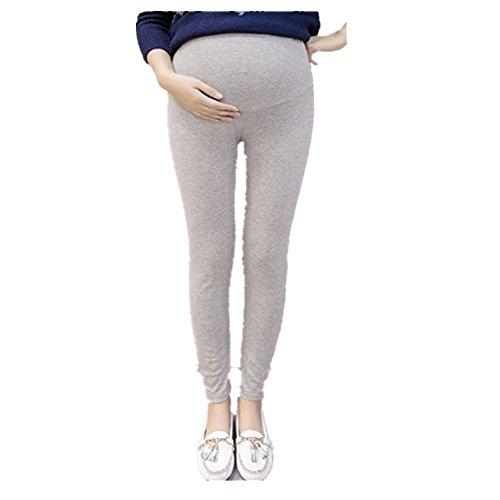 QinMM Pantalones Premamá Leggings Banda para Barriga Mujer Embarazada Maternidad (L, Gris)