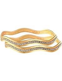 JFL - Traditional Fusion Ethnic One Gram Gold Plated White Austrian Diamond Designer Bangle Set For Women And...