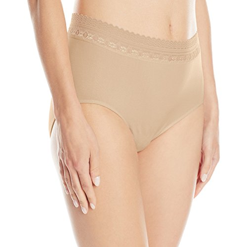 Bali Women's Comfort Revolution Seamless Brief Panty, Nude Lace, 6/7