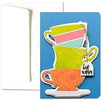 Best Wishes - meilleurs voeux - anniversaire - carte de voeux avec enveloppe (15 x 10,5 cm) - carte faite à la main - blanc à l'intérieur