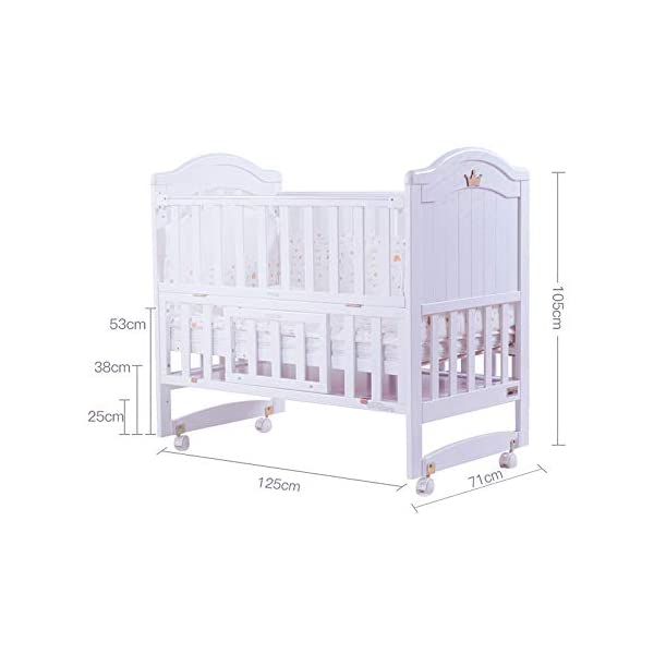 VBARV Multifunctional cradle bed-three-in-one stitching large bed solid wood crib, pine oversized children's play bed, bedroom furniture suitable for children aged 0-12 VBARV Non-toxic environmental protection material, no sharp fixing device, external dimensions are 125x72x104cm. Side-open fence, drowsy, easy to care for babies and able to hug in and out; can be spliced   into a large bed for easy feeding. The bed has four positions and is adjustable in height. The bed can be turned into a playground, cradle bed, sofa, desk, and is a multifunctional bed. Easy to clean and maintain: The surface of the crib can be wiped with a damp cloth to remove dust or dirt from the surface. 7