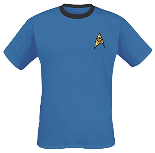 Mens Blue Spock Costume Star Trek Ringer T Shirt