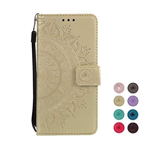 E-Panda kompatibel mit Samsung Galaxy S5 Hülle Gold Mandala Muster Design PU Leather Wallet Cover Flip klappbar Case HandyHülle LederHülle Tasche Etui schutzHülle mit Kartenfach (Galaxy S5 Holz Case Mandala)