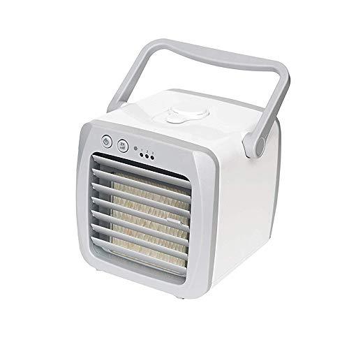 Mini Luftkühler 3 in 1 Energiesparend Air Cooler Luftbefeuchter Luftreiniger Handyhalter USB Geräuscharm Klimaanlage Lithium Batterie Wiederaufladbar 3 geschwindigkeiten 800ml Eingebauter Wassertank -