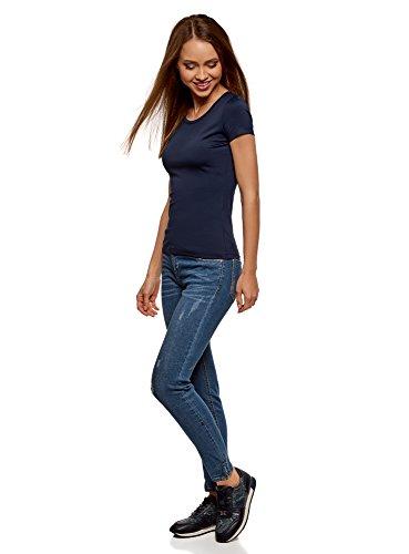 oodji Ultra Donna T-Shirt Basic con Scollo Rotondo Blu (7900N)