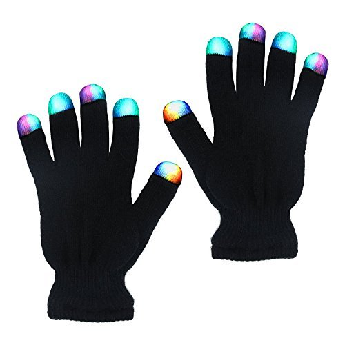 (TURATA LED Handschuhe mit 3 Farben blinkende Einstellungen 6 Modi cooles Spielzeug Kostüm Geschenk für die Party Halloween Weihnachten, schwarz)