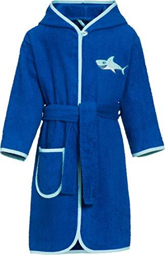 Playshoes Jungen Kinder Frottee Hai mit Kapuze Bademantel, (Blau 7), 98 (Herstellergröße: 98/104)